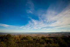 Beautiful autumn Tuscany vineyards view Stock Images