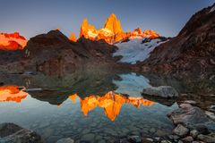 Beautiful autumn view Fitz Roy mountain. Patagonia, Argentina. Laguna de Los Tres and mount Fitz Roy in the background,timelapse, Patagonia, Argentina stock photos