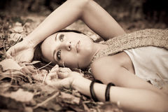 Beautiful autumn woman Stock Images