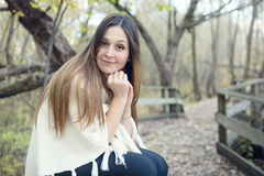 Beautiful autumn woman in golden park. A Beautiful autumn woman in golden park Royalty Free Stock Image