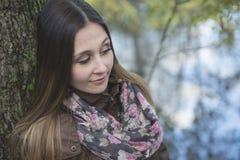 Beautiful autumn woman in golden park. A Beautiful autumn woman in golden park Stock Images