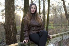 Beautiful autumn woman in golden park. A Beautiful autumn woman in golden park Royalty Free Stock Photography
