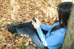 A beautiful autumn woman having good time. Using is cellphone sit on the bottom of a tree Stock Image