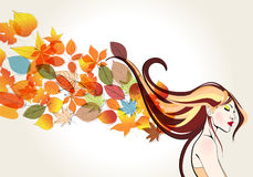 Beautiful autumn woman and leaves illustration Royalty Free Stock Photography