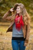 Beautiful autumn woman. With long hair Royalty Free Stock Photos