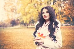 Beautiful Autumn Woman Model with Wavy Hair with Fall Leaves. Fashion Girl Outdoors Royalty Free Stock Images