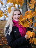 Beautiful autumn woman near yellow tree Stock Photography