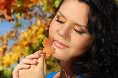 Beautiful Autumn Woman outdoors Stock Image