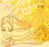 Beautiful autumn Woman portrait. Abstract Beautiful autumn Woman portrait stock illustration
