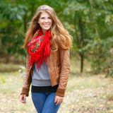 Beautiful autumn woman. With red hair Stock Photos