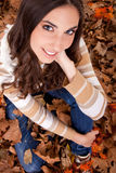 Beautiful autumn woman – view from above Stock Image