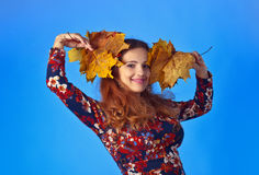 Beautiful autumn woman with yellow maple leaves. Beautiful autumn woman in studio with yellow maple leaves on blue background Royalty Free Stock Photos