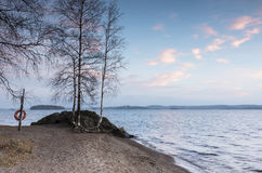 Beautiful autumnal evening in the lakeside Stock Photo