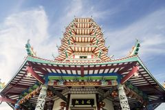 Beautiful Avalokitesvara pagoda. Low angle view of a beautiful Avalokitesvara pagoda in vihara buddhagaya watugong at Semarang, Indonesia Stock Photos