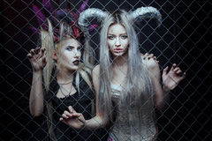 Beautiful and awful women in a cage. Royalty Free Stock Image