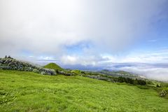 Beautiful Azorean Morning. Beautiful morning view of Ginetes and Varzea on the island of Sao Miguel in the Azores stock photo