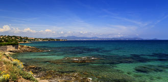Beautiful azur French Riviera Coastline. Beautiful clear azur French Riviera Coastline, Frejus, Saint Raphael, Saint Aygulf and les Issambres Stock Photo