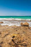 Beautiful azure red sea with waves and rocks in Egypt Stock Photography