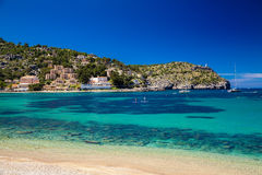 Beautiful azure sea in Port de Soller. Mallorca, Spain Stock Image