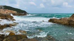 Beautiful Azure Sea Surf with Breathtaking Waves and Stone Rock. Thailand, Ko Samui. Beautiful Azure Sea Surf with Breathtaking Waves and Stone Rock. Andaman stock video