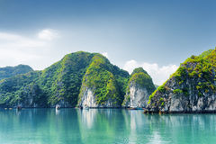 Beautiful azure water of lagoon. The Ha Long Bay, Vietnam Stock Image