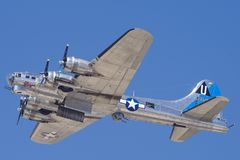 B-17 `Sentimental Journey` Flyby. The beautiful B-17 `Sentimental Journey` registration N9323Z shown during a flyby on March 25, 2018 Royalty Free Stock Photos