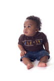 Beautiful baby. Adorable african american baby boy on white Royalty Free Stock Images