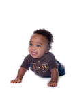 Beautiful baby. Adorable african american baby boy on white stock photography