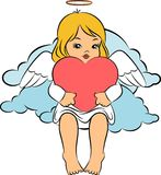Beautiful baby angel with wings. Illustration for a design Royalty Free Stock Photo