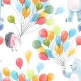 Beautiful baby birthday seamless pattern with hand drawn watercolor cute hedgehog bear animals and air baloons. Stock