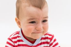 Beautiful baby boy crying Royalty Free Stock Images