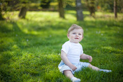 Beautiful baby boy on green grass in summer Stock Photo