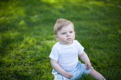 Beautiful baby boy on green grass in summer Royalty Free Stock Photography