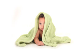 Beautiful Baby Boy Looking Sideways on White Stock Photos