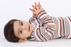 Beautiful baby boy. Looking beautiful baby boy  on white Stock Image