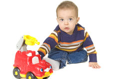 beautiful Baby boy plays with toy Stock Image