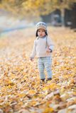 Beautiful baby boy posing at the park. Autumn season.  royalty free stock photo
