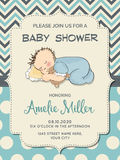 Beautiful baby boy shower card with  little  baby Stock Photos