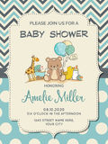 Beautiful baby boy shower card with toys Royalty Free Stock Images