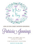 Beautiful baby boy shower template with watercolor flowers Stock Images