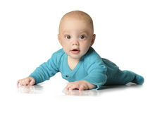 Beautiful baby boy on white background Royalty Free Stock Photography