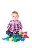 Beautiful baby building with cubes Royalty Free Stock Photo