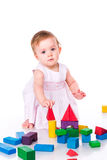 Beautiful baby building with cubes Stock Photo
