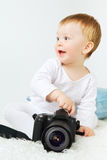 Beautiful Baby With Camera Stock Images