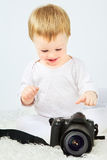 Beautiful Baby With Camera Stock Photo