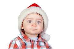 Beautiful baby with Christmas hat Stock Photo