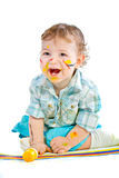 Beautiful Baby Covered In Bright Paint Royalty Free Stock Images