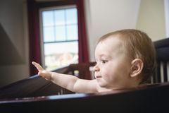 Beautiful baby in a crib at home. A beautiful baby in a crib at home Royalty Free Stock Image