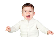 Beautiful baby crying Royalty Free Stock Images