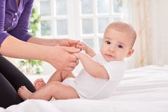Beautiful baby doing training Royalty Free Stock Photos